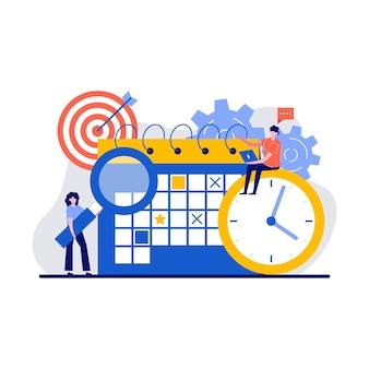 Концепция планирования времени с крошечным персонажем и значком
