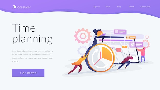 Time planning landing page template