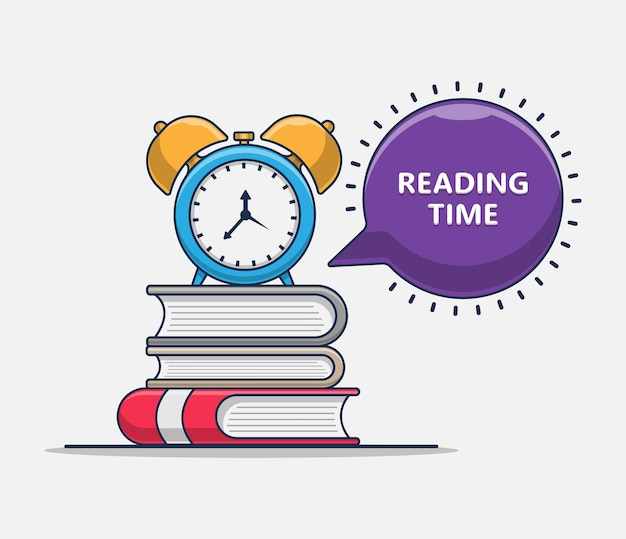 Time reading book icon illustration