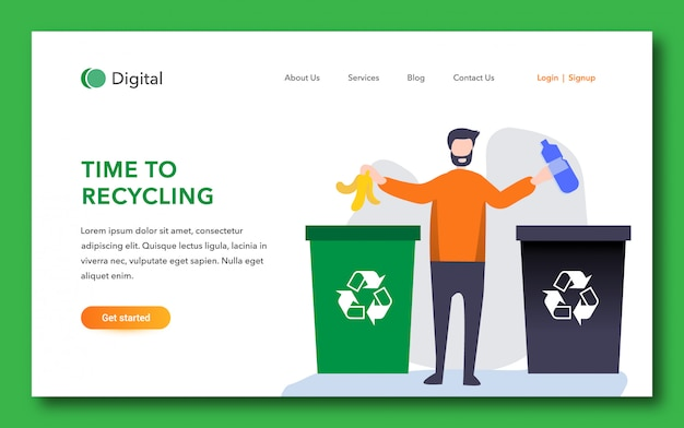 Time to recycling landing page template
