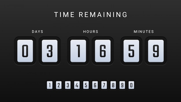 Time remaining illustration with countdown clock counter timer
