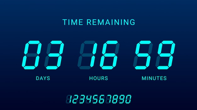 Time remaining illustration with digital countdown clock counter timer