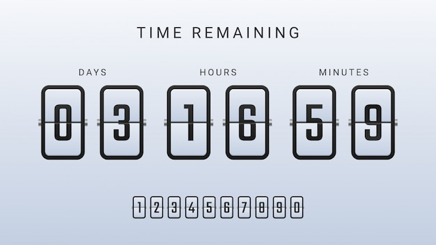 Time remaining illustration with flip countdown clock counter timer