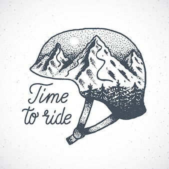 Time to ride hand drawn snowboard or ski helmet with mountain landscape in dotwork style.