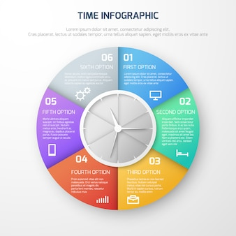 Time schedule infographic with clock and watch steps