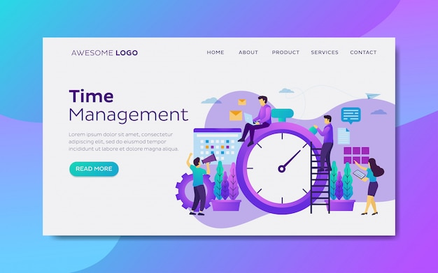 Time and schedule management landing page template