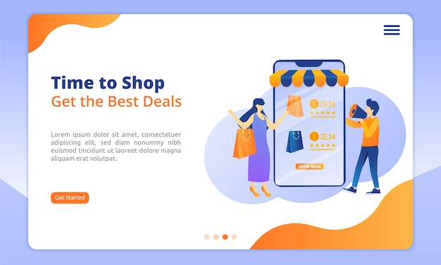 Time to shop landing page, get the best deals