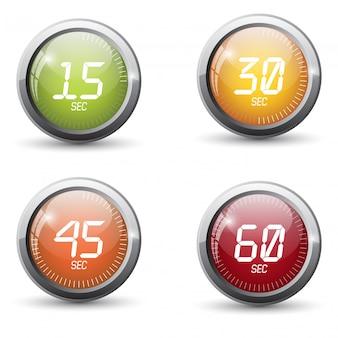 時間銀金属光沢のあるアイコン。モダンなデザインのボタンのセットです。