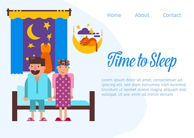 Time to sleep and good night website landing page or web template