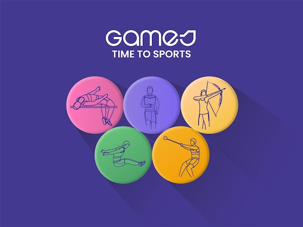Time to sports concept with olympic rings of different athletes