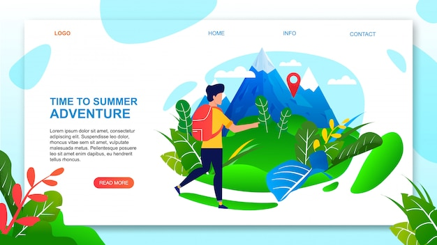 Time to summer adventure motivate landing page.