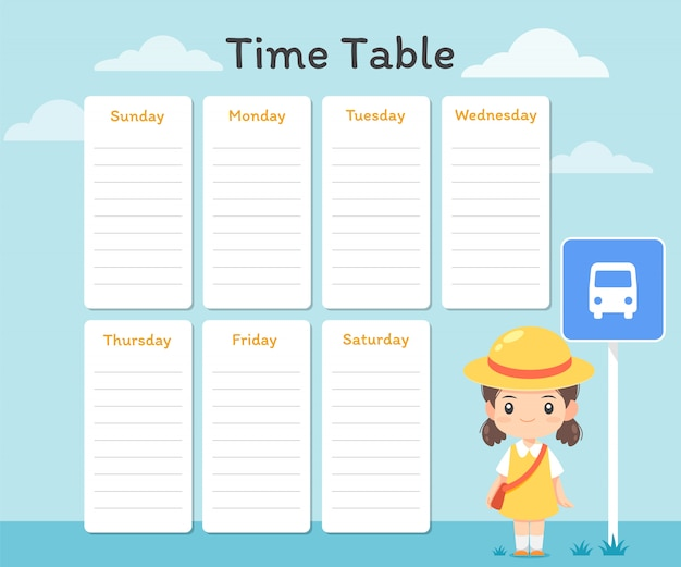 Time table template with cute girl