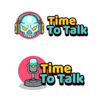 Time to talk podcast illustrazione logo per teschio