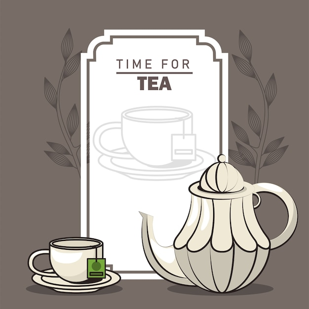 Time for tea lettering poster with teapot and cup