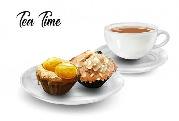 Time for tea with coffee and muffins