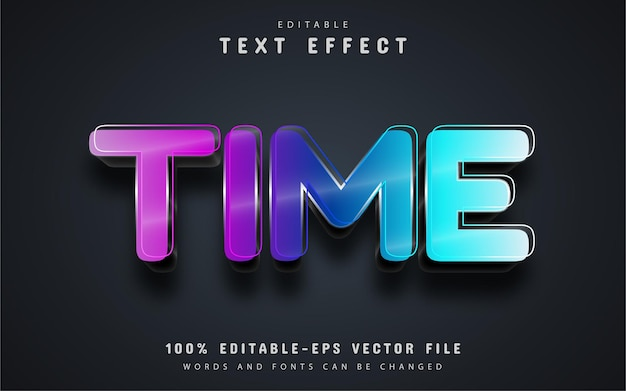 Time text, colorful text effect editable Premium Vector