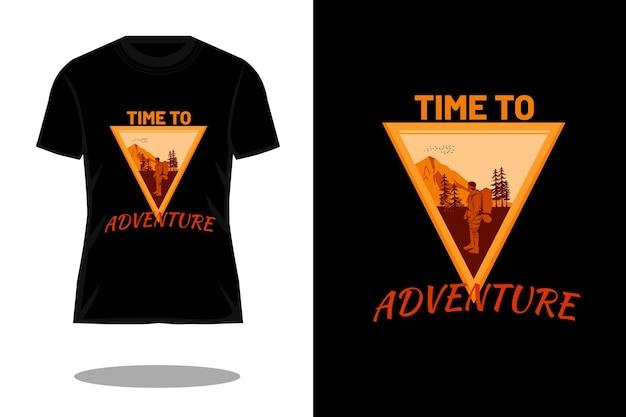시간 모험 실루엣 빈티지 티셔츠 디자인