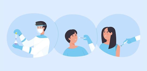 Пора концепции вакцинации против коронавируса. врачи рекомендуют проверить на коронавирус covid 19.