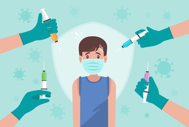 Пора концепции вакцинации против коронавируса. врачи рекомендуют предотвращать коронавирус с помощью вакцинации против вируса covid-19
