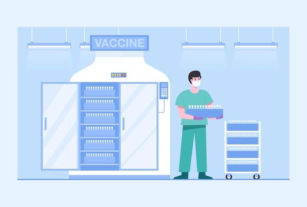 Пора концепции вакцинации против коронавируса. вакцина против коронавируса (covid-19) должна храниться при низких температурах, чтобы продлить срок ее службы.