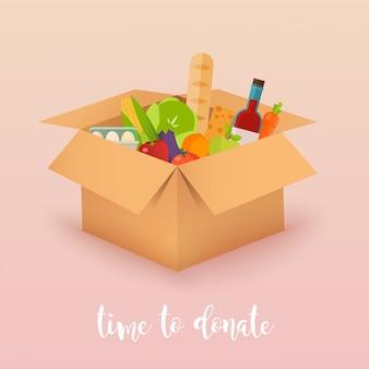 Время пожертвовать. пищевое пожертвование. коробки с едой. концепция иллюстрации.