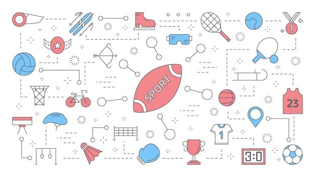 스포츠 개념 시간. 활동과 경쟁에 대한 아이디어. 축구 또는 테니스 경기, 배구 운동 및 운동 경기. 화려한 라인 아이콘의 집합입니다. 삽화