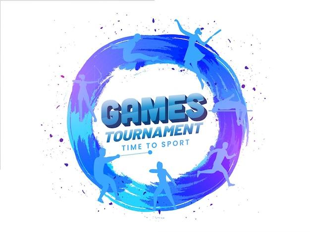 スポーツへの時間、シルエット陸上競技と青いブラシストロークサークル形状のゲームトーナメントコンセプト