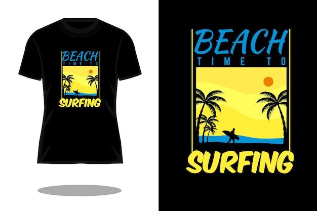 サーフィンシルエットヴィンテージtシャツデザインへの時間