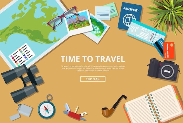 Время для иллюстрации веб-сайта туристического агентства. план поездки, чтобы посетить страны, города, достопримечательности. отпуск туристическая карта паспорт кредитная карта камера компас ноутбук нож билет
