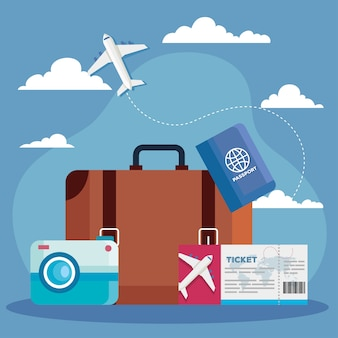 手荷物チケットのパスポートとカメラのデザイン、旅行の観光と旅のテーマを旅行する時間