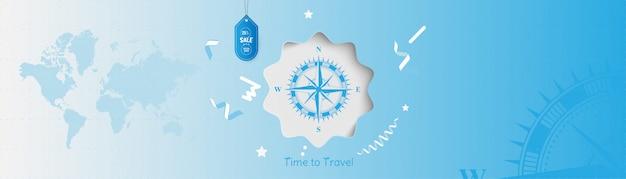 여행 시간. 관광에 판매 및 특별 제공 25 % 배너 배경. 빈티지 나침반과 세계지도와 개념입니다.