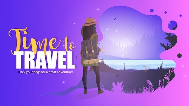 Время путешествовать баннер. девушка смотрит на лес. девушка с рюкзаком. лес с рекой.