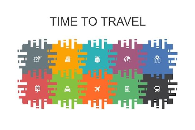 Время путешествовать мультяшный шаблон с плоскими элементами. содержит такие значки, как бронирование гостиницы, карта, самолет, поезд