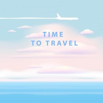 飛行機で海の上の青い空に雲を旅行する時間