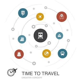간단한 아이콘으로 컬러 서클 개념을 여행할 시간입니다. 호텔 예약, 지도, 비행기, 기차와 같은 요소가 포함되어 있습니다.