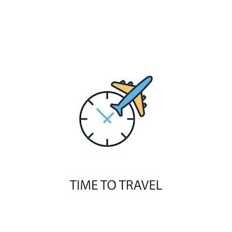 Время путешествовать концепции 2 цветной значок линии. простой желтый и синий элемент иллюстрации. время путешествовать концепция наброски символ дизайн