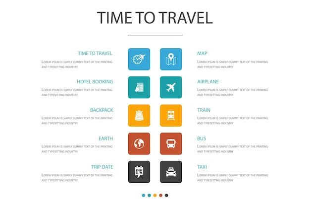 Время путешествовать инфографика 10 вариантов концепции. бронирование отелей, карта, самолет, поезд простые значки