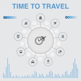 아이콘으로 인포그래픽을 여행할 시간입니다. 호텔 예약, 지도, 비행기, 기차와 같은 아이콘이 포함되어 있습니다.