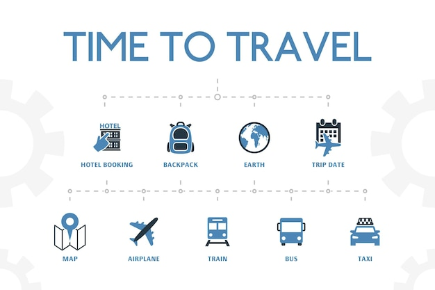 간단한 2색 아이콘이 있는 현대적인 개념 템플릿을 여행할 시간입니다. 호텔 예약, 지도, 비행기, 기차 등의 아이콘이 포함되어 있습니다.