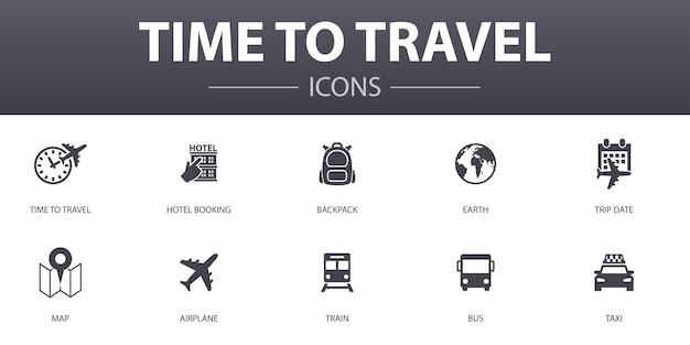 간단한 개념 아이콘 세트를 여행할 시간입니다. 호텔 예약, 지도, 비행기, 기차 등의 아이콘이 포함되어 있으며 웹, 로고, ui/ux에 사용할 수 있습니다.