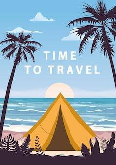 여행할 시간 열대 해변 야자수에서 캠핑하는 관광 텐트 여름 휴가 해안선 해변 바다 프리미엄 벡터