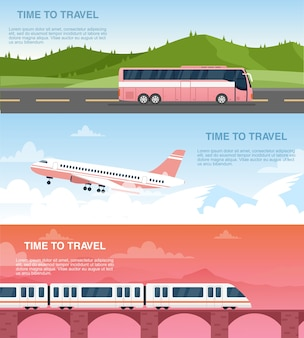 Webバナーテンプレートセットを旅行する時間。旅行代理店の広告デザインパック。
