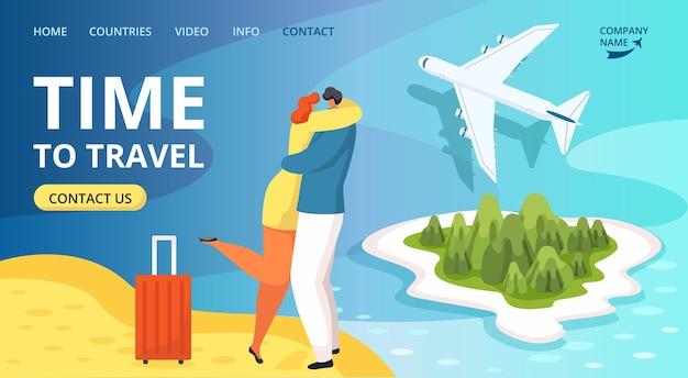행복한 여행자 사람과 비행기, 관광 웹 사이트 템플릿을 여행하는 시간. 비행기에서 따뜻한 나라로 여행하는 짐을 가진 남자와 여자. 여름 방학.