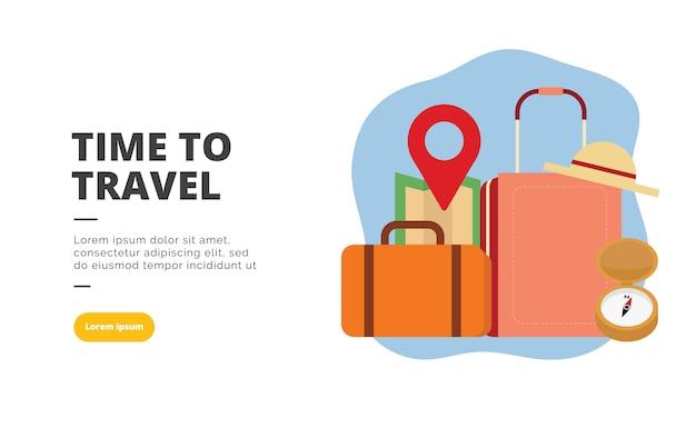 Time to travel плоский дизайн баннера иллюстрации
