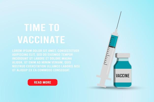 Пора вакцинировать баннер. шприц с иглой и лекарственными таблетками. медицинская вакцина против гриппа для лечения вируса гриппа, плоская векторная иллюстрация. дизайн концепции вакцинации, плакат.