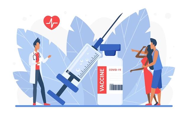 病院で若いカップルの人々にアドバイスするコンセプトドクターキャラクターに予防接種をする時間。