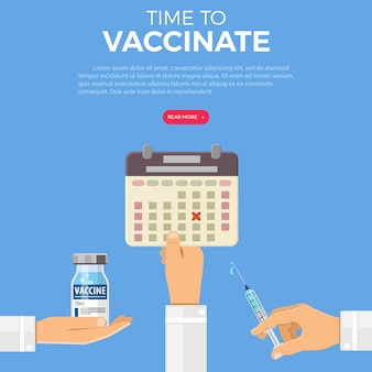 コンセプトを予防接種する時間。アイコンプラスチック製の医療用注射器、バイアルワクチン、カレンダーを医師の手に。フラットスタイルのアイコン。コンセプトワクチン接種、注射、インフルエンザの予防接種。孤立したベクトル図