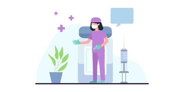 予防接種の時間です。 covid19。コロナウイルス。ウイルスとの戦い。医師は注射器からウイルスへのワクチンについて説明します。医学出版物のイラスト。予防医学。 webバナー