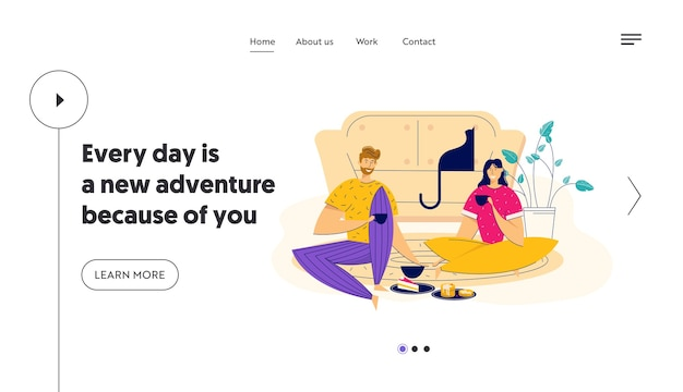 Time together concept with happy couple eating breakfast landing page. man and woman having lunch at home. boyfriend and girlfriend romantic dating website, banner.