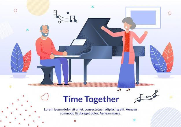 Time together for elderly promotion cartoon illustration